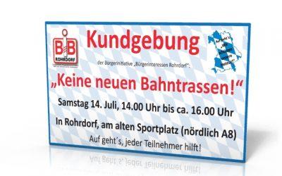 Einladung zur Kundgebung am Samstag 14. Juli um 14 Uhr in Rohrdorf
