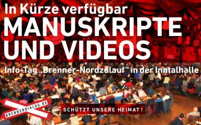 """In Kürze verfügbar: Manuskripte und Videos vom Info-Tag """"Brenner-Nordzulauf"""""""