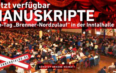 """Jetzt verfügbar: Manuskripte vom Info-Tag """"Brenner-Nordzulauf"""""""